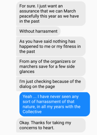 Screenshot of text messages sent from Laurel Grauer to CDMC organizer the night before Dyke March